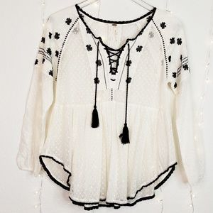 Free People Bohemian Lace Up Long Sleeve Blouse